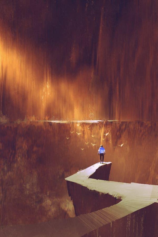 Άτομο που στέκεται στην πορεία βράχου που εξετάζει τον τοίχο βουνών διανυσματική απεικόνιση