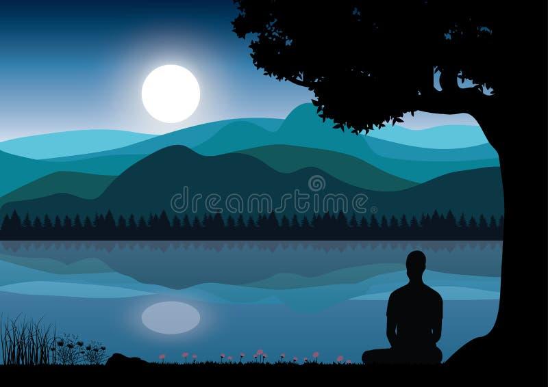 Άτομο που στη θέση γιόγκας συνεδρίασης στην κορυφή τα βουνά επάνω από τα σύννεφα στο ηλιοβασίλεμα Zen, περισυλλογή, ειρήνη, διάνυ στοκ εικόνες
