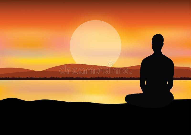 Άτομο που στη θέση γιόγκας συνεδρίασης στην κορυφή τα βουνά επάνω από τα σύννεφα στο ηλιοβασίλεμα Zen, περισυλλογή, ειρήνη, διάνυ στοκ εικόνες με δικαίωμα ελεύθερης χρήσης