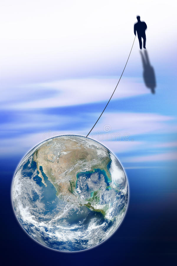 Άτομο που συνδέεται με τον κόσμο - εικόνα έννοιας στοκ φωτογραφία με δικαίωμα ελεύθερης χρήσης
