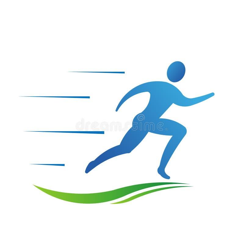 Άτομο που τρέχει γρήγορα με το λογότυπο ιχνών διανυσματική απεικόνιση
