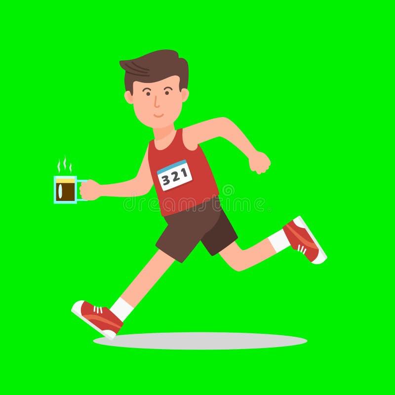 Άτομο που τρέχει με τον καφέ στο είδωλο εικονιδίων λογότυπων χεριών του ελεύθερη απεικόνιση δικαιώματος
