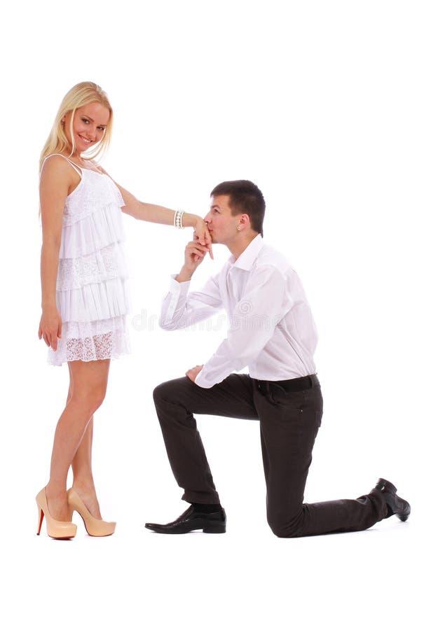 Άτομο που φιλά το χέρι της στοκ εικόνες