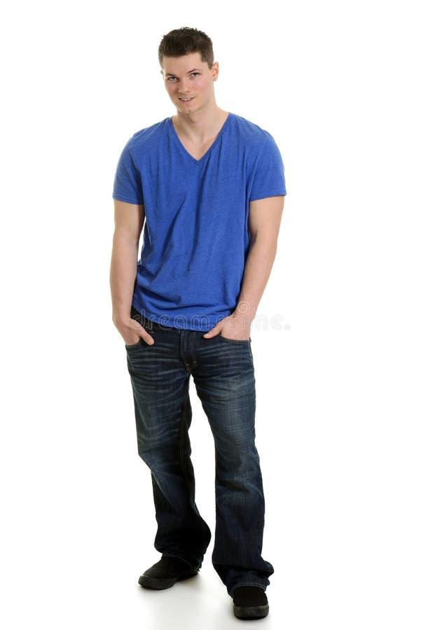 Άτομο που φορά τα τζιν και την μπλούζα στοκ εικόνες
