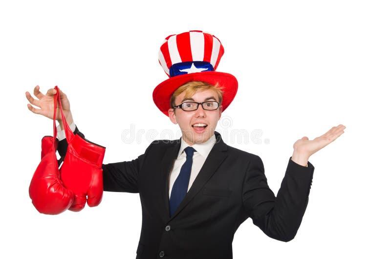 Download Άτομο που φορά το καπέλο με τα αμερικανικά σύμβολα Στοκ Εικόνα - εικόνα από άσκηση, απομονωμένος: 62704099