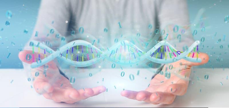 Άτομο που φυλάσσει ένα τρισδιάστατο δίνοντας στοιχείο κωδικοποιημένο το DNA με το δυαδικό αρχείο aroun απεικόνιση αποθεμάτων