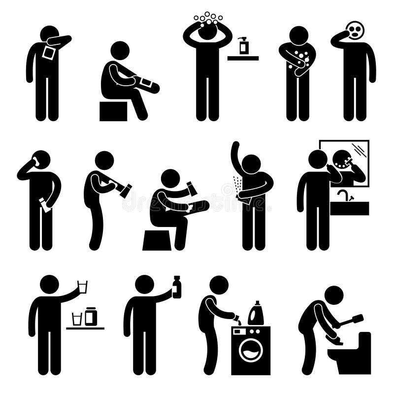 Άτομο που χρησιμοποιεί το εικονόγραμμα προϊόντων υγειονομικής περίθαλψης διανυσματική απεικόνιση