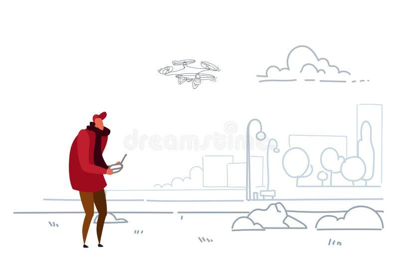 Άτομο που χρησιμοποιεί το εναέριο μακρινό ελεγκτών παίζοντας κηφήνων copter σύγχρονο πόλεων αστικό λειτουργούν quadrocopter πέταγ διανυσματική απεικόνιση