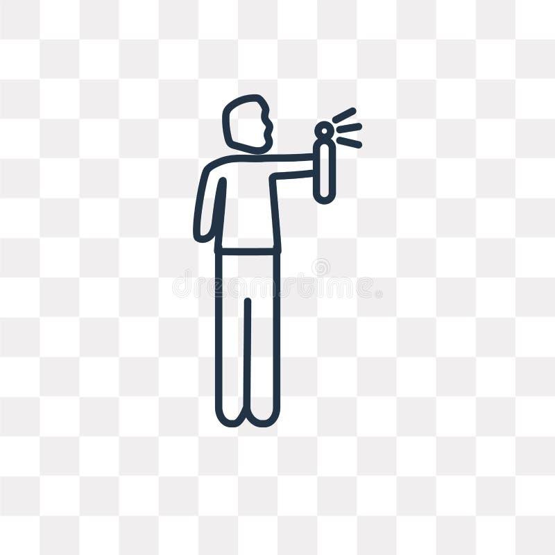 Άτομο που ψεκάζει το αποσμητικό διανυσματικό εικονίδιο που απομονώνεται στο διαφανές backg ελεύθερη απεικόνιση δικαιώματος