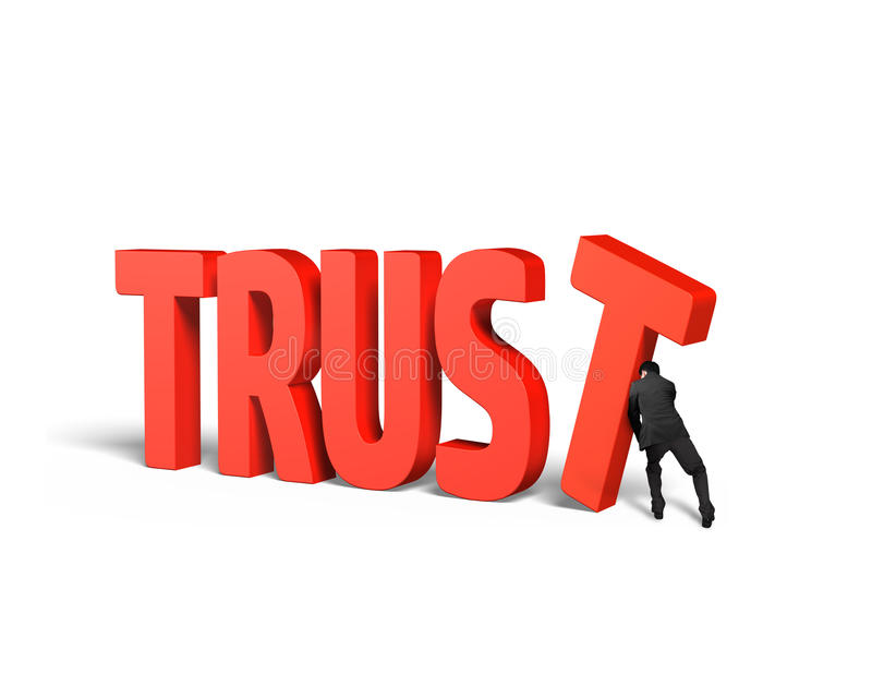Άτομο που ωθεί το Τ και που βάζει τη λέξη εμπιστοσύνης από κοινού ελεύθερη απεικόνιση δικαιώματος