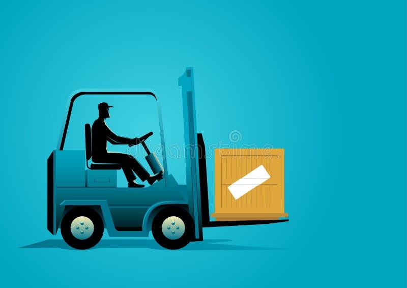 Άτομο που Forklift ελεύθερη απεικόνιση δικαιώματος