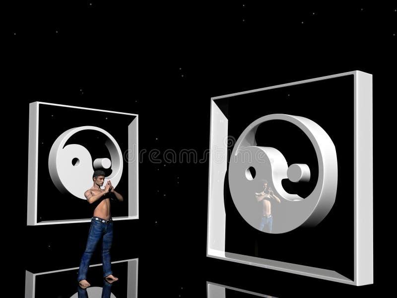 άτομο που yang yin διανυσματική απεικόνιση