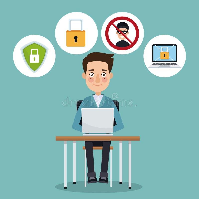 Άτομο προγραμματιστών χρώματος σκηνής στο γραφείο με το lap-top που λειτουργεί στην ασφάλεια απεικόνιση αποθεμάτων