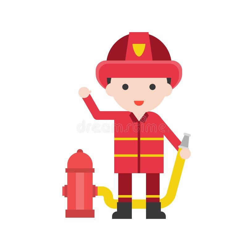 Άτομο πυροσβεστών, καθορισμένος χαρακτήρας επαγγέλματος των ανθρώπων σε ομοιόμορφο, διανυσματική απεικόνιση