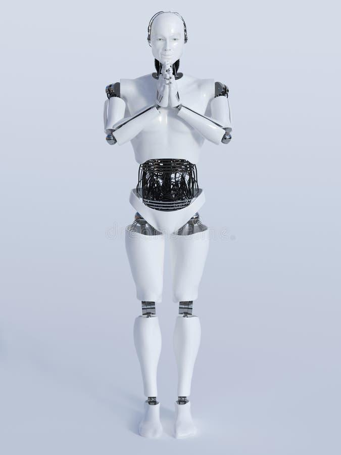 Άτομο ρομπότ που κάνει namaste ελεύθερη απεικόνιση δικαιώματος