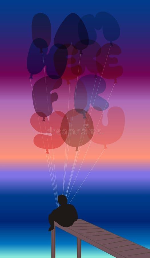 Άτομο σε μια αποβάθρα με τα μπαλόνια απεικόνιση αποθεμάτων