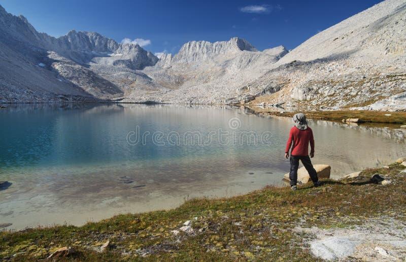 Άτομο στην ακτή λιμνών βουνών στοκ εικόνα με δικαίωμα ελεύθερης χρήσης