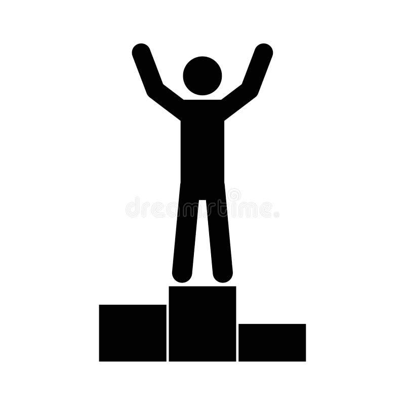 Άτομο στην εξέδρα βάθρων με τα χέρια που αυξάνονται  διανυσματική απεικόνιση