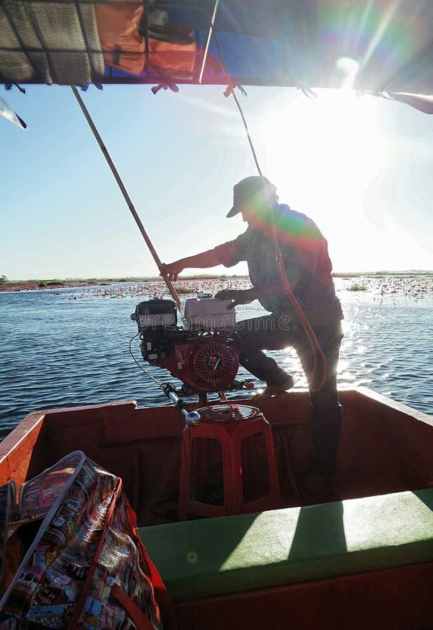 Άτομο στην εργασία για να περιοδεύσει του τη βάρκα κάτω από το φωτεινό φως ήλιων στην κόκκινη waterlily λίμνη στοκ εικόνες