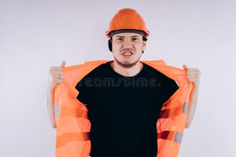 Άτομο στην εργασία ομοιόμορφη στο άσπρο υπόβαθρο στοκ εικόνα