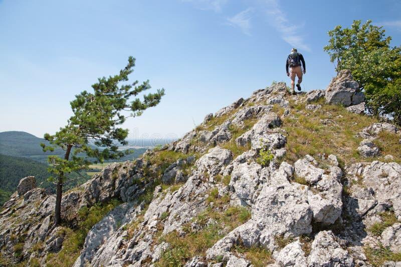 Άτομο στην κορυφή του βράχου στην οδοιπορία στοκ φωτογραφία με δικαίωμα ελεύθερης χρήσης
