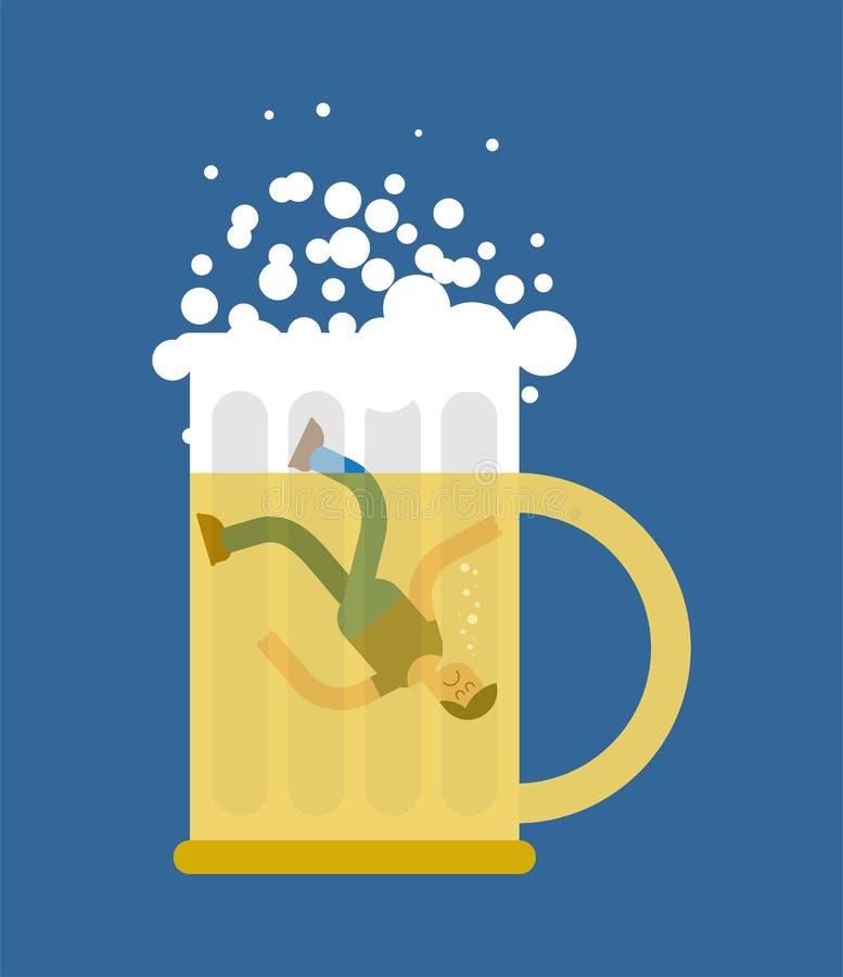 Άτομο στην κούπα μπύρας Εραστές μπυρών Μειωμένος στην κούπα ελεύθερη απεικόνιση δικαιώματος