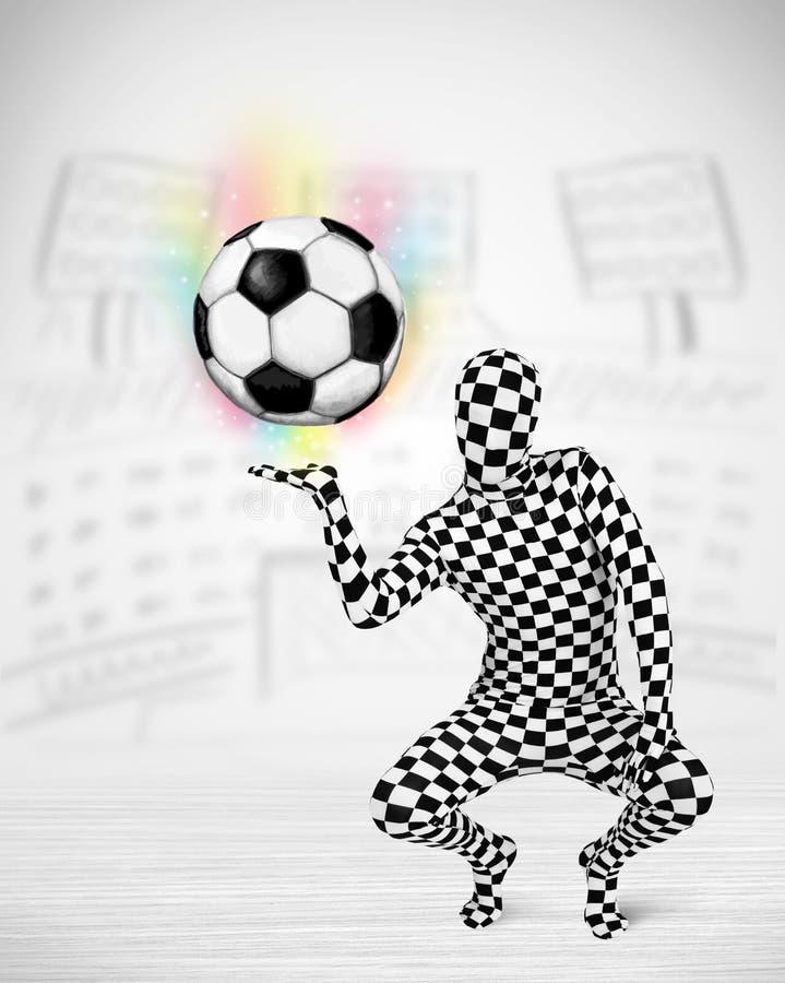 άτομο στην πλήρη σφαίρα ποδοσφαίρου κοστουμιών σωμάτων διανυσματική απεικόνιση