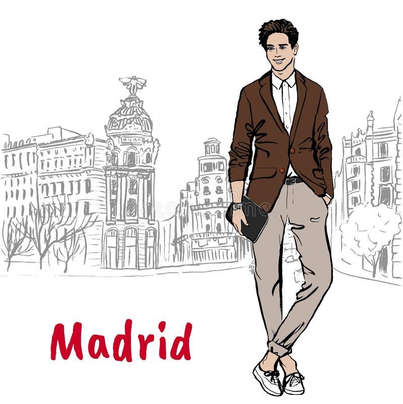 Άτομο στη Μαδρίτη διανυσματική απεικόνιση
