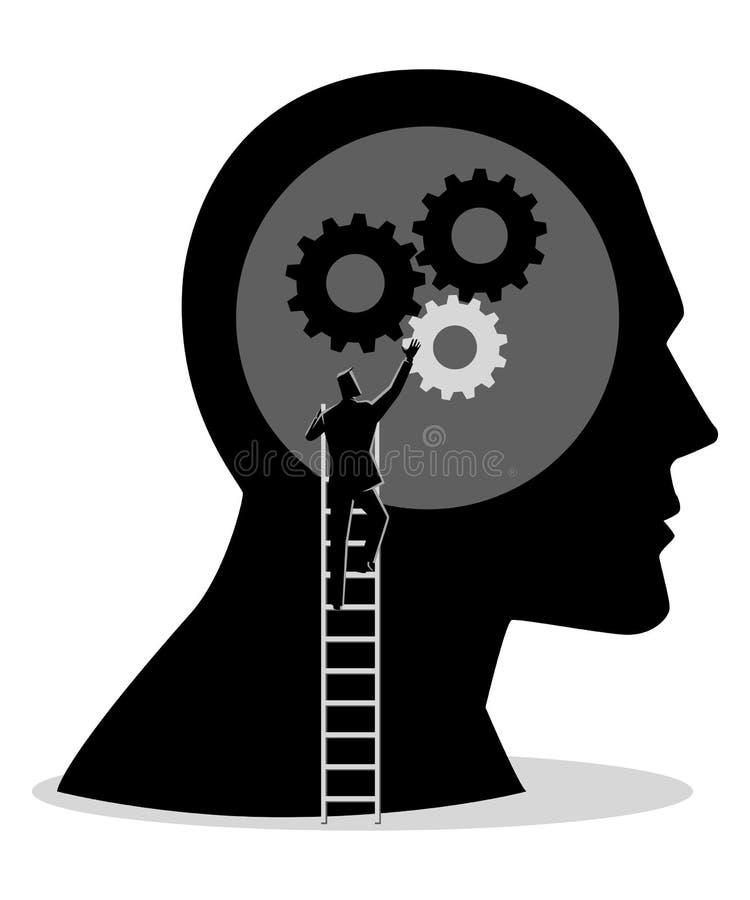 Άτομο στη σκάλα που εγκαθιστά τα εργαλεία στο ανθρώπινο κεφάλι απεικόνιση αποθεμάτων