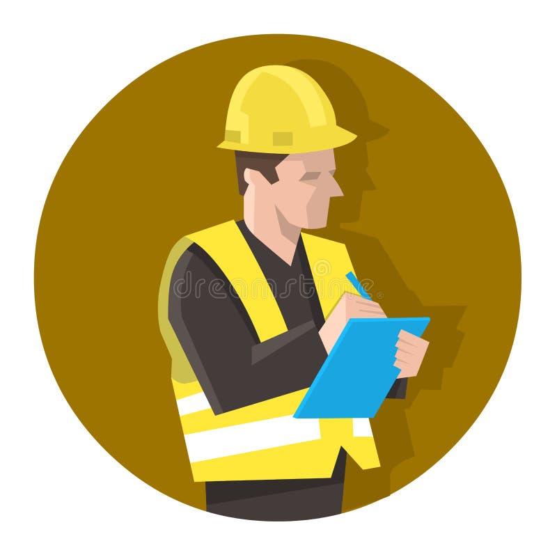 Άτομο στη φανέλλα ασφάλειας που ελέγχει έναν κατάλογο προγράμματος ή που κάνει τον έλεγχο ασφάλειας ελεύθερη απεικόνιση δικαιώματος
