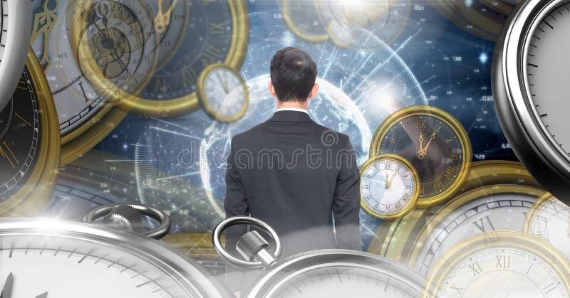 Άτομο στον υπερφυσικό χρόνο και χώρο με τα ρολόγια στοκ φωτογραφία