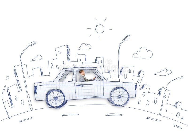 Άτομο στο αυτοκίνητο ελεύθερη απεικόνιση δικαιώματος