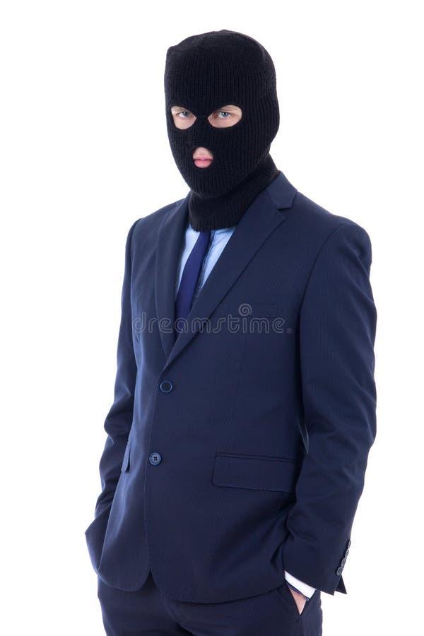 Άτομο στο επιχειρησιακό κοστούμι και μαύρη μάσκα διαρρηκτών με εκτεταμένο το χέρι τ στοκ φωτογραφία