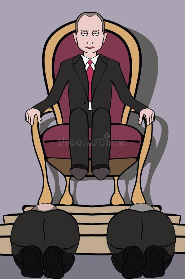 Άτομο στο θρόνο και άνθρωποι που υποκύπτουν σε τον ελεύθερη απεικόνιση δικαιώματος