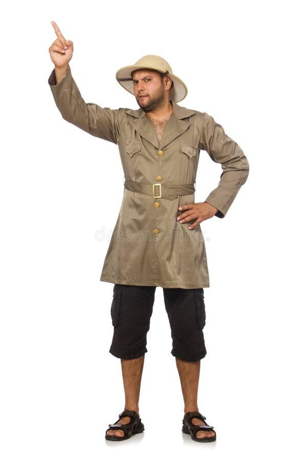 Download Άτομο στο καπέλο σαφάρι που απομονώνεται στο λευκό Στοκ Εικόνα - εικόνα από απογοήτευση, χιούμορ: 62707601