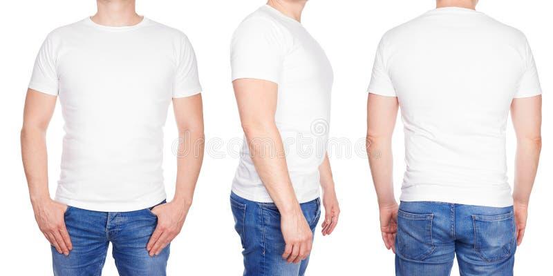 Άτομο στο κενό άσπρο μέτωπο μπλουζών, από την πλευρά και το οπίσθιο τμήμα στοκ εικόνες