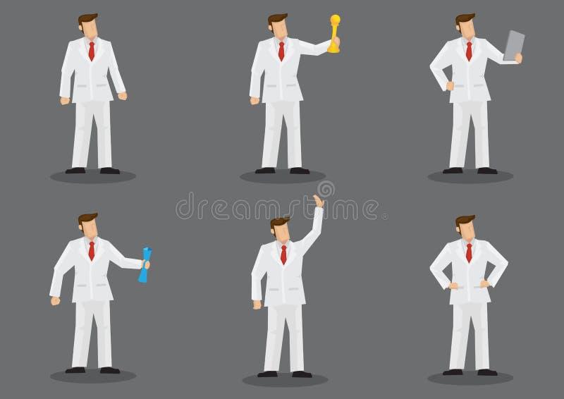 Άτομο στο λευκό χαρακτήρα μόδας κοστουμιών διανυσματικό - σύνολο ελεύθερη απεικόνιση δικαιώματος
