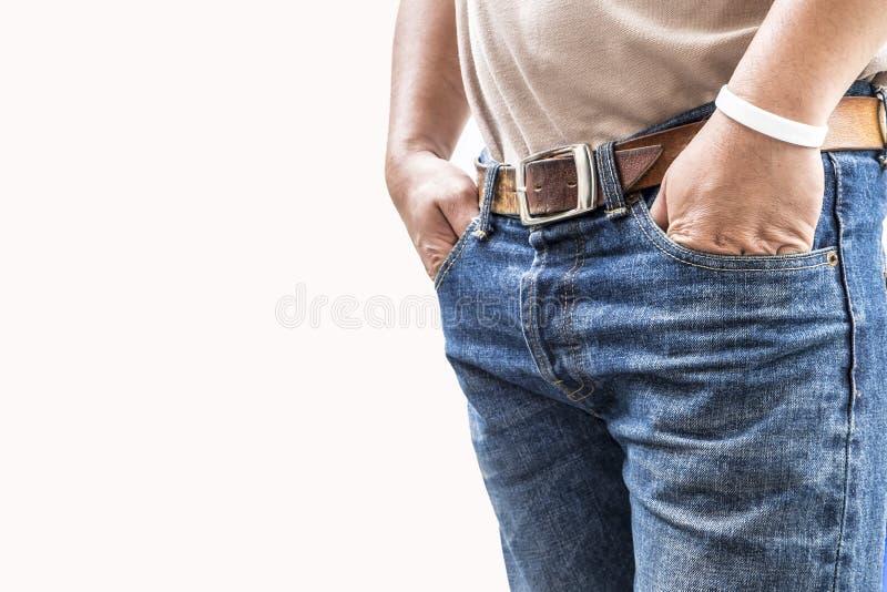 Άτομο στο παντελόνι τζιν στο άσπρο υπόβαθρο στοκ εικόνες