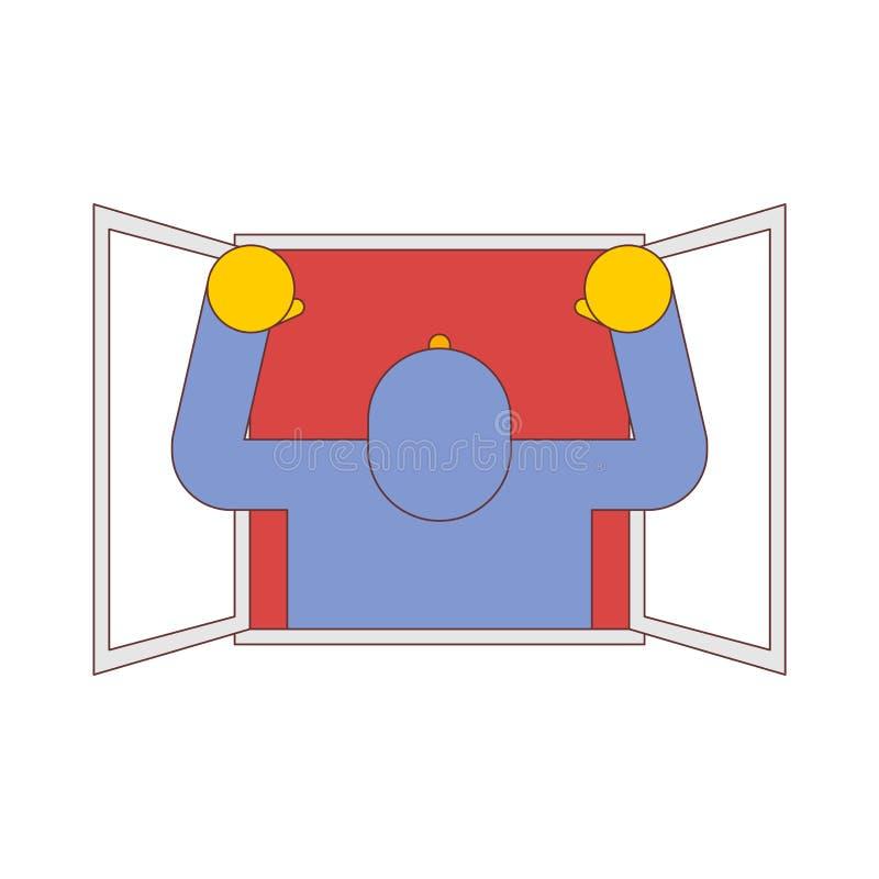 Άτομο στο παράθυρο που απομονώνεται Casement τύπων που κυματίζει τα όπλα του r απεικόνιση αποθεμάτων