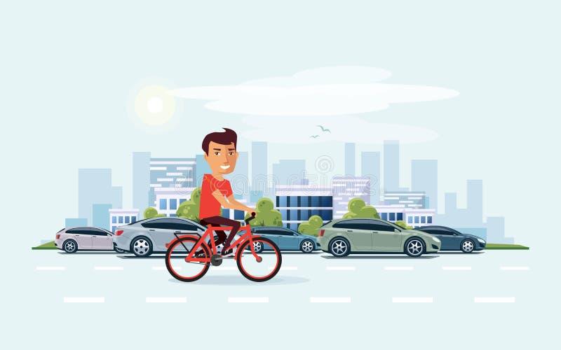 Άτομο στο ποδήλατο στην οδό με το υπόβαθρο οριζόντων πόλεων ελεύθερη απεικόνιση δικαιώματος