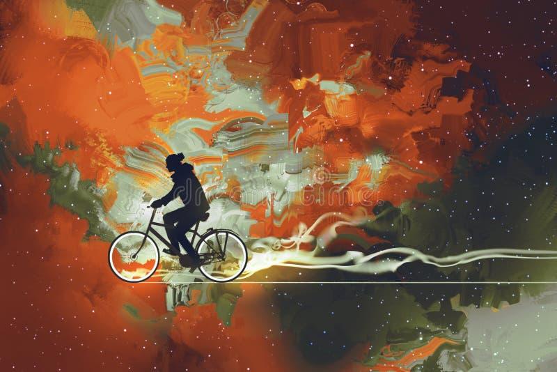 Άτομο στο ποδήλατο στον κόσμο απεικόνιση αποθεμάτων