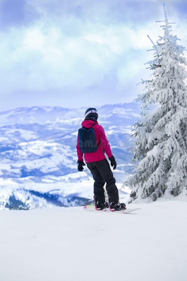 Άτομο στο σνόουμπορντ στα βουνά στοκ φωτογραφία