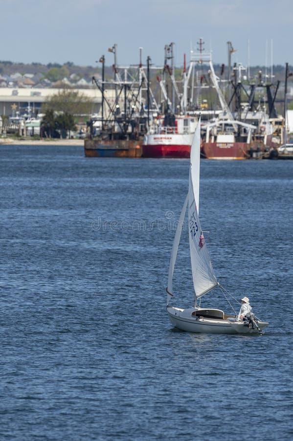 Άτομο στο τιμόνι μικρό sailboat σε Fairhaven στοκ εικόνα με δικαίωμα ελεύθερης χρήσης