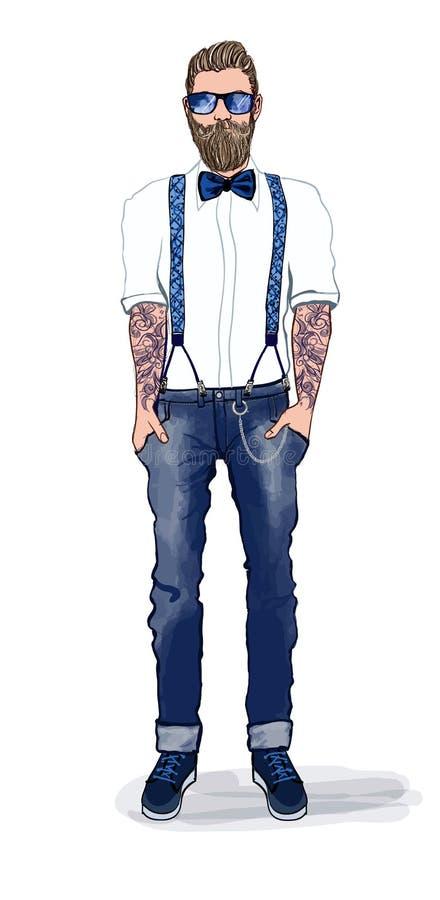 Άτομο στο ύφος hipster ελεύθερη απεικόνιση δικαιώματος