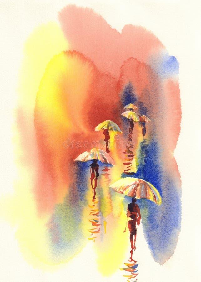 Άτομο στο watercolor βροχής απεικόνιση αποθεμάτων