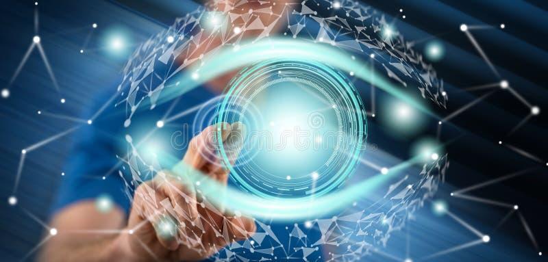 Άτομο σχετικά με μια ψηφιακή έννοια ματιών στοκ φωτογραφία