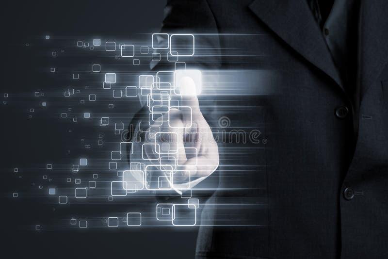 Άτομο σχετικά με το καμμένος κιβώτιο μέσα στο αφηρημένο δίκτυο στην επίδειξη διανυσματική απεικόνιση