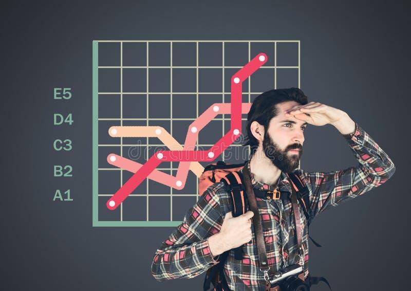 Άτομο ταξιδιωτικών τυχοδιωκτών με τις ζωηρόχρωμες στατιστικές διαγραμμάτων πλέγματος ελεύθερη απεικόνιση δικαιώματος