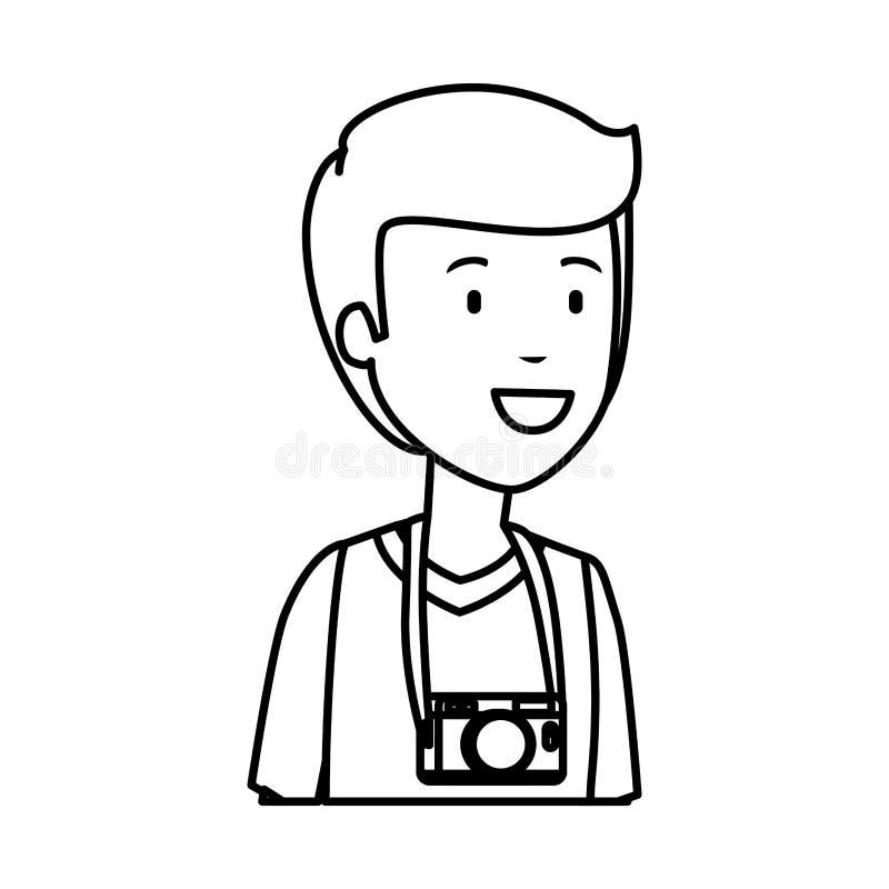 Άτομο τουριστών με το φωτογραφικό χαρακτήρα καμερών διανυσματική απεικόνιση