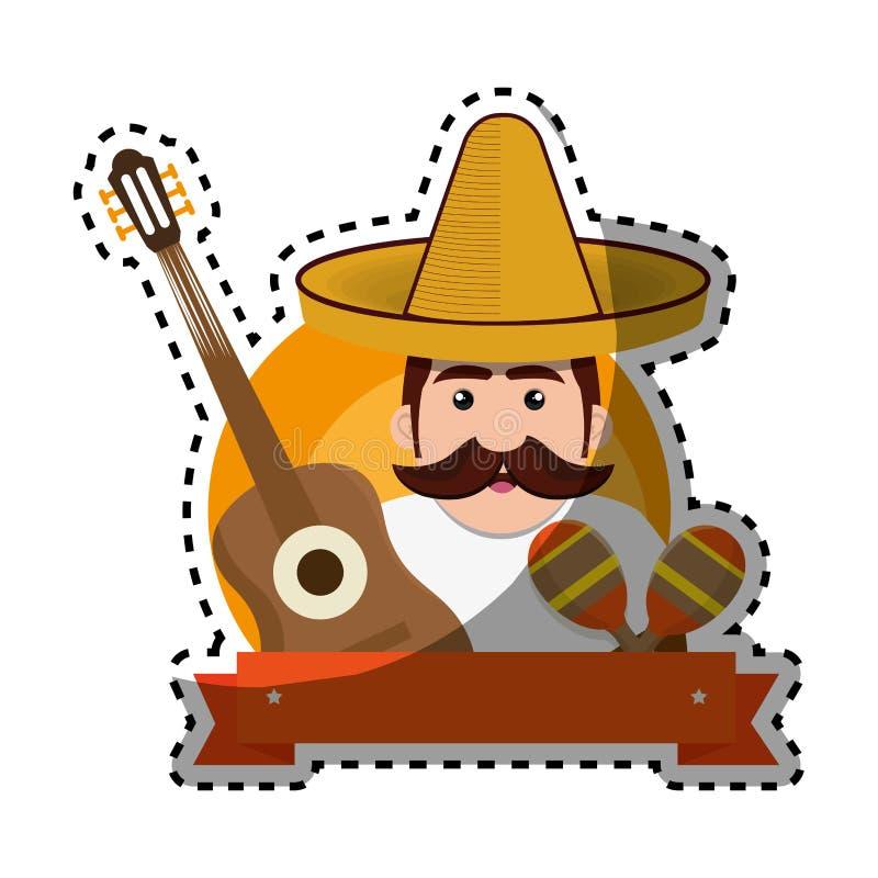 Άτομο υποβάθρου αυτοκόλλητων ετικεττών με το moustache και τα μεξικάνικα στοιχεία ελεύθερη απεικόνιση δικαιώματος